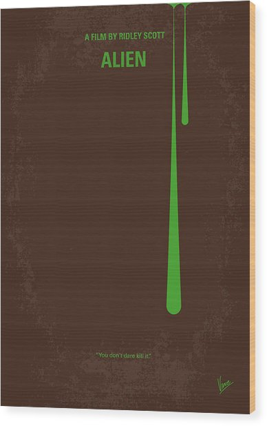 No004 My Alien Minimal Movie Poster Wood Print