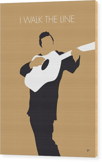No010 My Johnny Cash Minimal Music Poster Wood Print