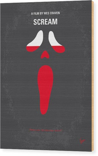 No121 My Scream Minimal Movie Poster Wood Print