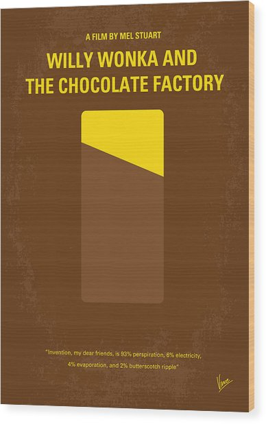 No149 My Willy Wonka And The Chocolate Factory Minimal Movie Poster Wood Print