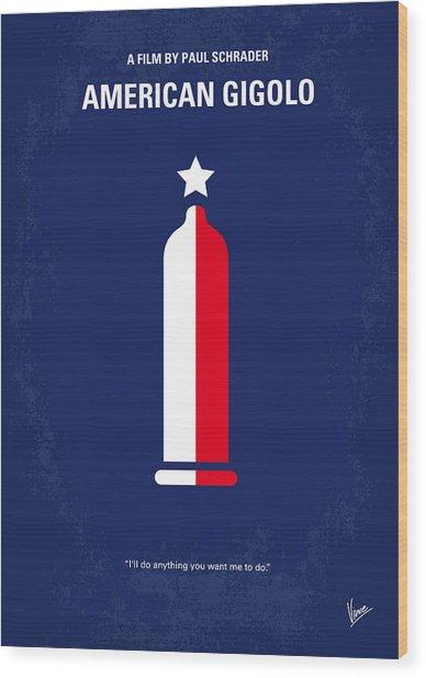 No150 My American Gigolo Minimal Movie Poster Wood Print