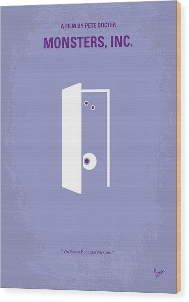 No161 My Monster Inc Minimal Movie Poster Wood Print