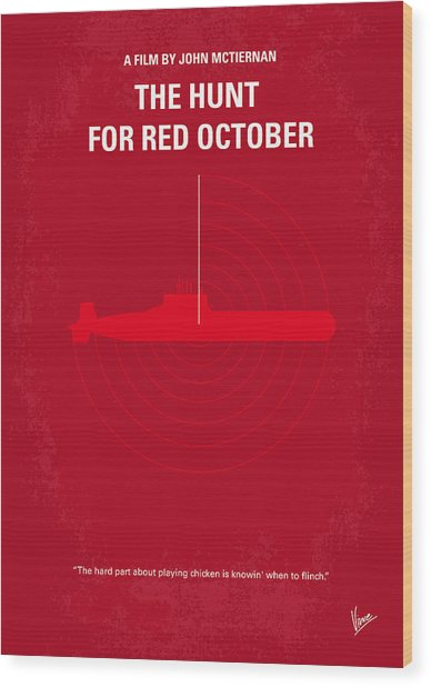 No198 My The Hunt For Red October Minimal Movie Poster Wood Print