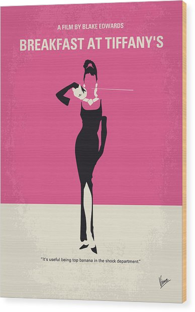 No204 My Breakfast At Tiffanys Minimal Movie Poster Wood Print