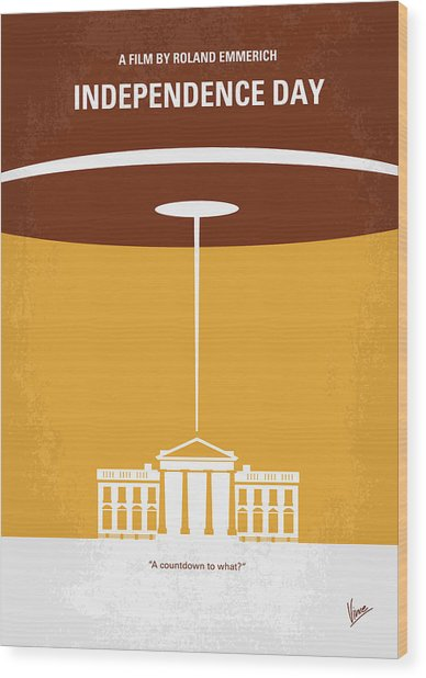 No249 My Independence Day Minimal Movie Poster Wood Print