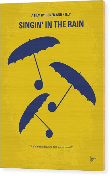 No254 My Singin In The Rain Minimal Movie Poster Wood Print