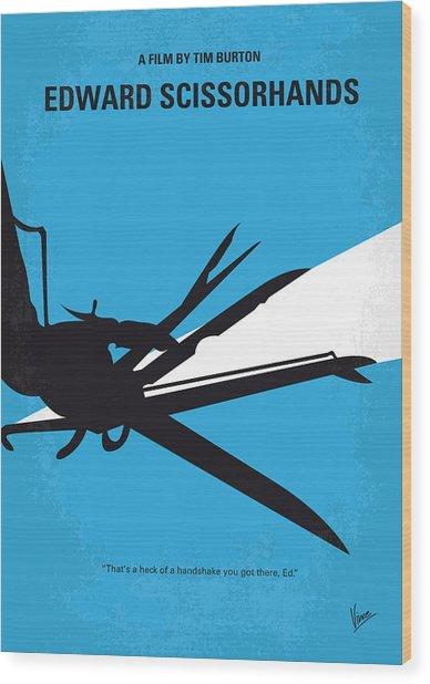 No260 My Scissorhands Minimal Movie Poster Wood Print