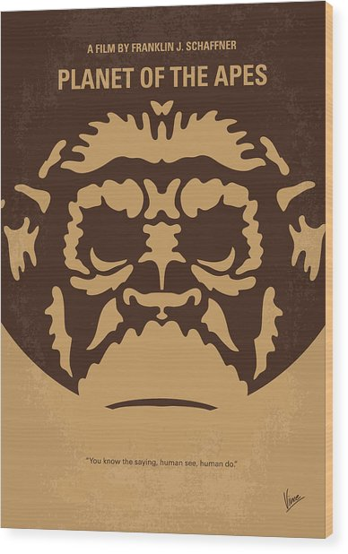 No270 My Planet Of The Apes Minimal Movie Poster Wood Print