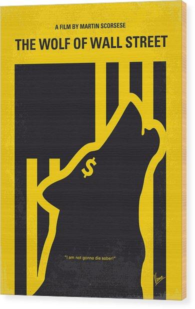 No338 My Wolf Of Wallstreet Minimal Movie Poster Wood Print