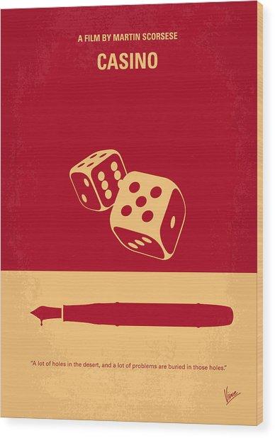 No348 My Casino Minimal Movie Poster Wood Print