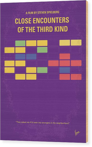 No353 My Encounters Of The Third Kind Minimal Movie Poster Wood Print
