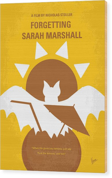 No393 My Forgetting Sarah Marshall Minimal Movie Poster Wood Print