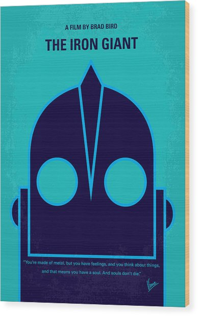 No406 My The Iron Giant Minimal Movie Poster Wood Print