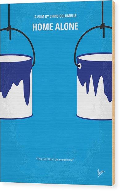 No427 My Home Alone Minimal Movie Poster Wood Print