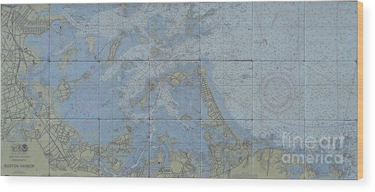Noaa Chart Of Boston Harbor  Wood Print