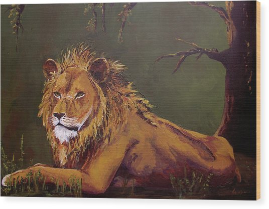 Noble Guardian - Lion Wood Print