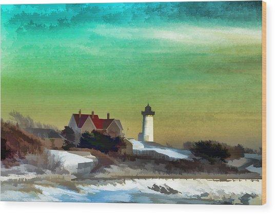 Nobska Lighhouse In Winter Wood Print