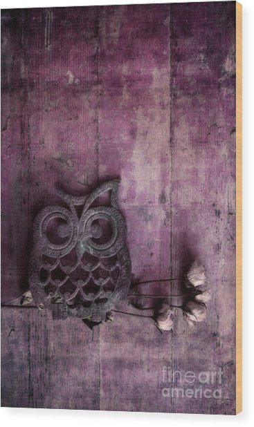 Nocturnal In Pink Wood Print