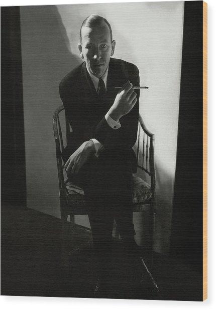 Noel Coward Smoking Wood Print by Edward Steichen