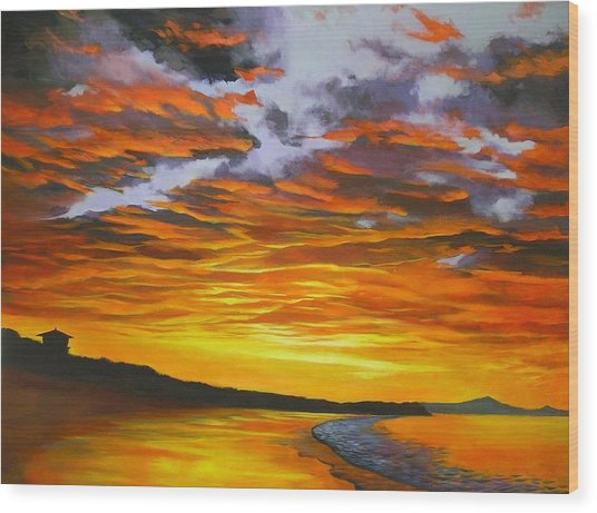 Noosa Sunset Wood Print