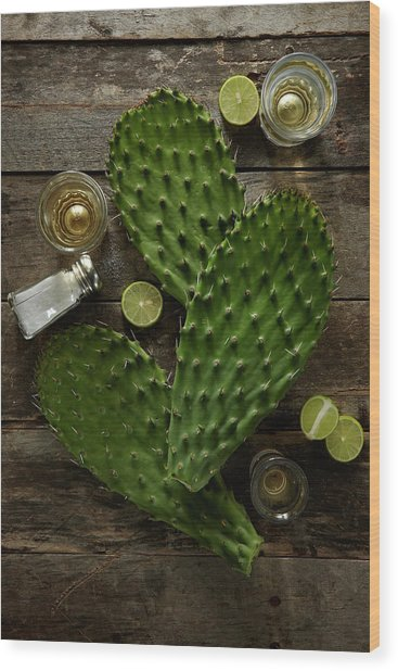 Nopales And Tequila Wood Print