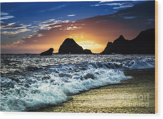 Norcal Sunset On Jenner Beach Wood Print