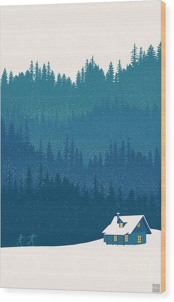 Nordic Ski Scene Wood Print