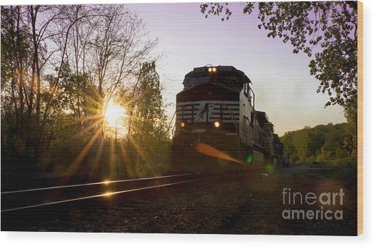 Norfolk And Southern At Sunset Wood Print