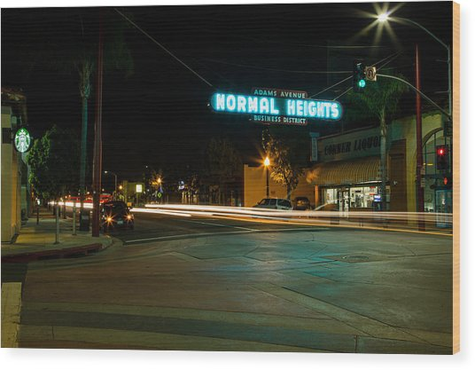 Normal Heights Neon Wood Print