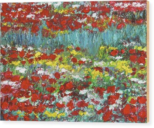 Normandy Poppy Field Dreams  II Wood Print
