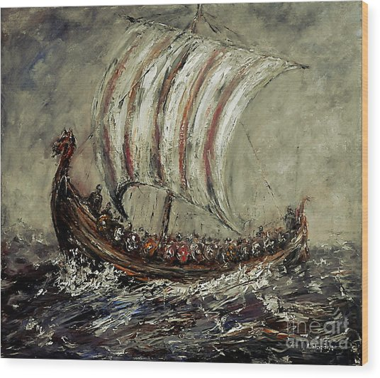 Norse Explorers Wood Print