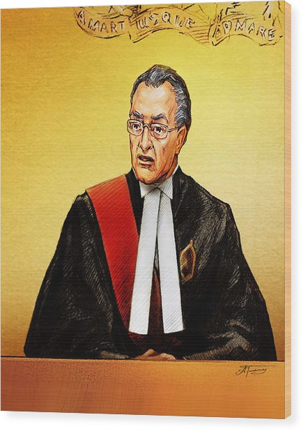 Nortel Verdict - Mr. Justice Marrocco Reads Non-guilty Ruling Wood Print