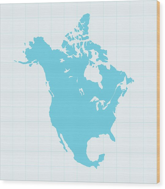 North America Map On Grid On Blue Wood Print by Iconeer