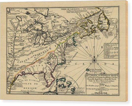 North America, United States, New York, Canada, Pennsylvania, Virginia, North Carolina, 1702 Wood Print by Historic Map Works LLC and Osher Map Library