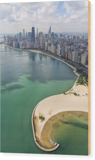 North Avenue Beach Chicago Aerial Wood Print