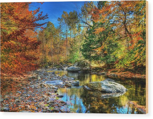 North Branch In Fall Wood Print by John Nielsen