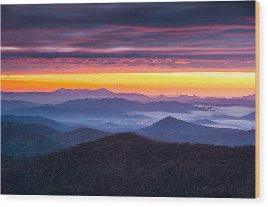 North Carolina Blue Ridge Parkway Nc Autumn Twilight Wood Print by Dave Allen