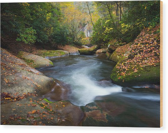 North Carolina Mountain River In Autumn Fall Foliage Wood Print