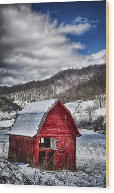 North Carolina Red Barn Wood Print