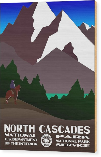 North Cascades National Park Vintage Poster Wood Print