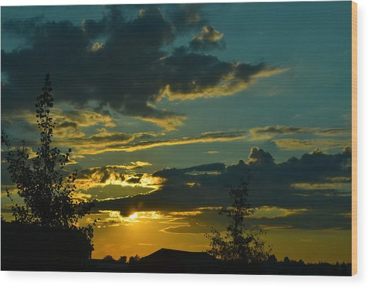 North Dakota Sunset Wood Print