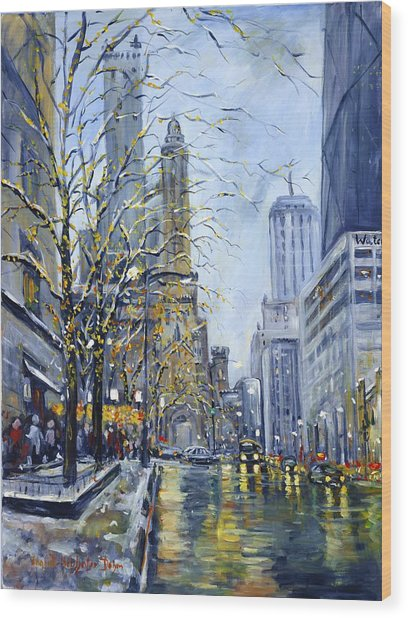 North Michigan Avenue Wood Print