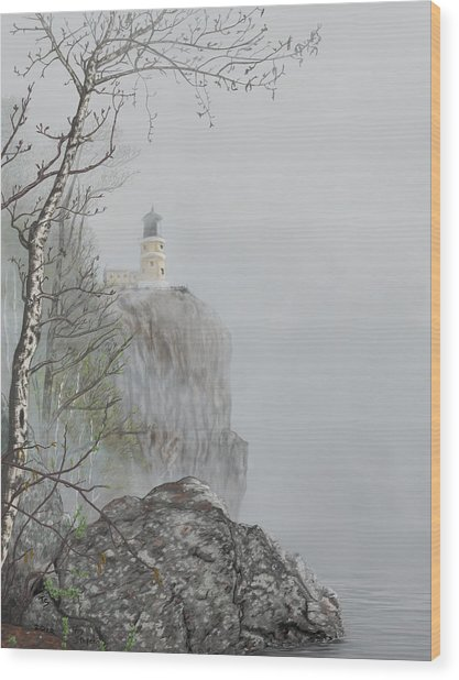 North Shore Lighthouse In The Fog Wood Print