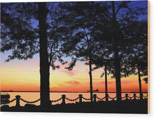 North-shore Sunset Wood Print