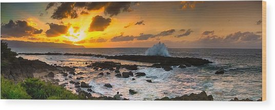 North Shore Sunset Crashing Wave Wood Print