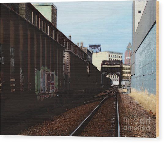 Northbound Freight To Milwaukee Wood Print by David Blank