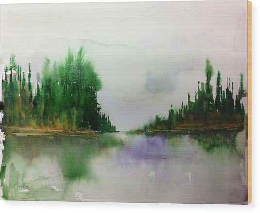 Northern Lake - Mellow Day Wood Print