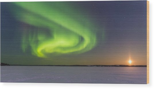 Northern Lights And Moon Wood Print by Craig Brown