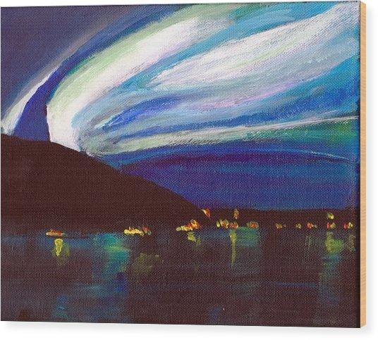 Northern Lights Bay Wood Print