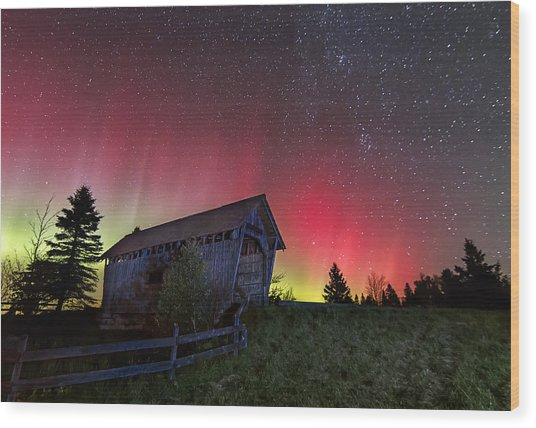 Northern Lights - Painted Sky Wood Print